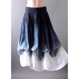Gray White Ombré Victorian Women Long Maxi Skirt